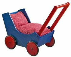 Doll Pram Blue/Red by Haba. $170.99. 20.39 x 16.3 x 14.33 inches. This HABA doll stroller is made from beech wood, it comes with a red bed set and the handle is adjustable.