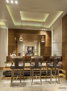 Designed and styled by Monica Chawla of Essentia Environments. Ceiling Design Living Room, Bedroom False Ceiling Design, Living Room Designs, Wall Cladding, Cladding Ideas, Crockery Cabinet, Interior Architecture, Interior Design, Apartment Interior