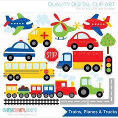 Trains, Planes and Trucks Clip Art / Primary Colors / Transportation Clipart / Digital Clip Art - Instant Download