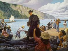 Are There Lepers On Molokai | Fr. Damien arrives at Molokai- painting by Herb Kawainui Kane