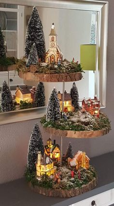 A unique Christmas village display! A unique Christmas village display! Christmas Kitchen, Country Christmas, Simple Christmas, Christmas Home, Vintage Christmas, Christmas Ornaments, Beautiful Christmas, Cheap Christmas, Christmas Christmas