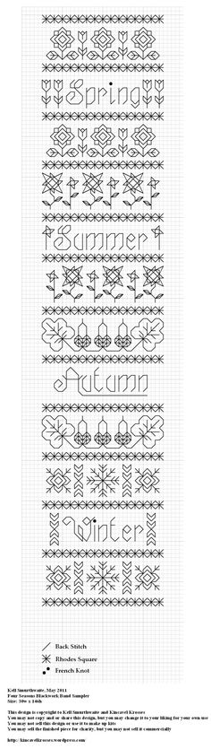 Four Seasons Blackwork Band Sampler by Kell Smurthwaite of Kincavel Krosses