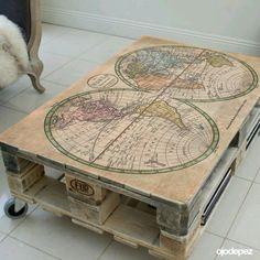 Nos encantan las mesas con vinilos de mapas, envianos la imagen o idea con medidas aprox. y te decimos el precio!