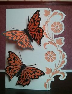BORDER EDGE CARD 19 with Butterfly on Craftsuprint designed by Clive Couter - made by Thelma  Reynolds - cut out this card then cut out contast backing and cut the 2 butterfly layers in different colours twice assembled quick easy but stunning card - Now available for download!