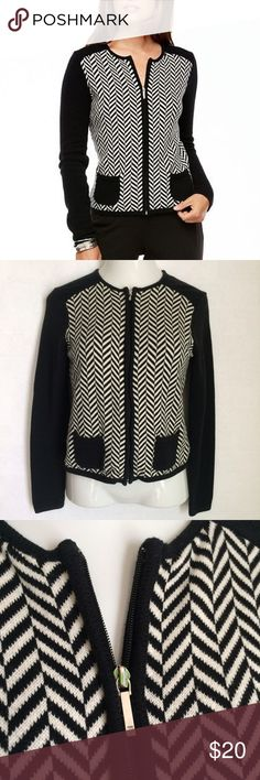 ✨NEW Listing✨Chaps b&w herringbone zip cardigan Chaps black & white herringbone zip cardigan sweater. Two small black pockets on front. Back is solid black. **Top of zipper shows a little tarnish. Size S. 60% cotton/40% acrylic. Not interested in trades. Chaps Sweaters Cardigans