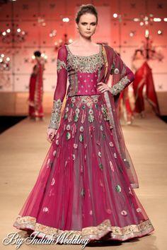 lovely maroon #lehenga by ashima leena at delhi couture week 2012