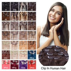 Any Colour Virgin 100%Real Clip In Remy Human Hair Extensions Clip Full Head 70g…