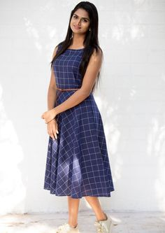 Blue Checks Midi Dress With Belt – Tamara Frock For Teens, Frock For Women, Long Gown Dress, Frock Dress, Saree Dress, Kurti Neck Designs, Kurti Designs Party Wear, Blouse Designs, Frock Fashion