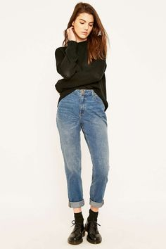 mom jeans + black sweater + socks + black brogues
