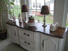 white buffet, dark wood top.