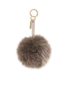 4e2d701a5f91 Fendi Fur Pompom Key Fob in Beige - Lyst Fendi Fur