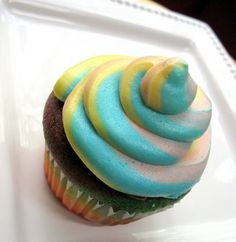 Rainbow Cupcakes....Well this is not bad. However, very time consuming. It took about 15 minutes just to pour one pan of the cupcakes. You have to go very slow and be very careful that you don't over crowed the cupcake liner. It's really worth the effort! TWO THUMBS UP!