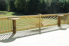 sunburst railing with built in tables