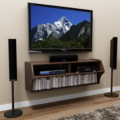 Prepac Espresso Altus Wall Mounted Audio/Video Console TV Stand - TV Stands at Hayneedle