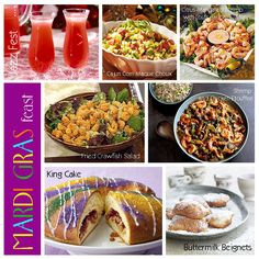 Traditional New Orleans style recipes for a Mardi Gras Fat Tuesday party. Mardi Gras Food, Mardi Gras Party, Beignets, Chicken Etouffee, Mardi Gras Outlet, Madi Gras, Cajun Recipes, Cajun Food, Good Food