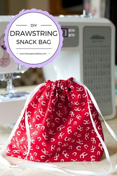Easy DIY sewing project. The cutest little drawstring snack bag. Great for beginners. Sewing project that is easy, fun, and makes for the perfect gift for your school aged child. OR ANYONE!