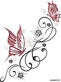"""Laden Sie den lizenzfreien Vektor """"Tribal mit roten Schmetterlingen"""" von christine krahl zum günstigen Preis auf Fotolia.com herunter. Stöbern Sie in unserer Bilddatenbank und finden Sie schnell das perfekte Stockbild für Ihr Marketing-Projekt!"""