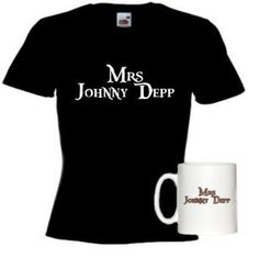 Mrs Johnny Depp Mug and Ladies Black T-Shirt.....a must for any Johnny fan