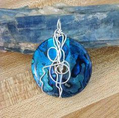 Blue paua shell pendant by Silvercascades on Etsy