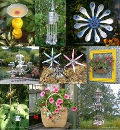 Plate Flower Yard Art Wind Chimes   To see my other garden art projects just click on the photo collage ...