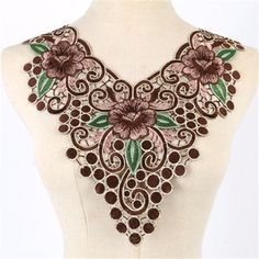 Fabric Flower Venise Lace Sewing Applique Lace Collar Neckline Collar – Honeybee Line Crochet Collar, Lace Collar, Shirt Embroidery, Hand Embroidery Designs, Embroidered Lace, Lace Applique, Lace Fabric, Fabric Flowers, Fabric Sewing