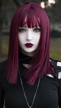 Bangs & fangs 🔥 Details⤵ ▪Wine Red Wig by (Referenc Gothic Hairstyles, Cool Hairstyles, Goth Beauty, Hair Beauty, Peinados Pin Up, Red Wigs, Grunge Hair, Cool Hair Color, Purple Hair