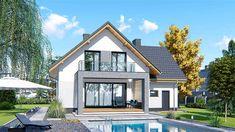 Projekt domu APS 184 NEW 132,2 m2 - koszt budowy - EXTRADOM Micro House, Design Case, Home Fashion, Terrazzo, House Plans, Living Spaces, Villa, Exterior, Cabin