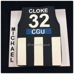 Collingwood AFL birthday cake Collingwood Football Club, 5th Birthday Cake, Football Themes, Host A Party, Themed Cakes, How To Make Cake, Party Supplies, Baby Cakes, Black And White
