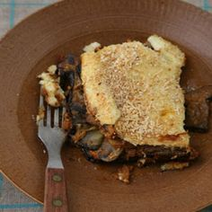 Mushroom Moussaka - We based the recipe for this Greek dish on one in the Moosewood Cookbook by Mollie Katzen (Ten Speed Press, 1977).