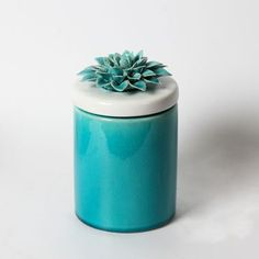 Blue Round Ceramic Container With Flower Lid L