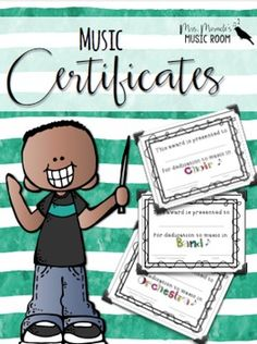 Need music certificates for the end of the year? This product includes awards for choir, band, strings, and more, and is customizable so you can add student names!