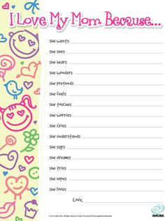 """How does your child see you?  Let them fill in the blanks on our """"I Love My Mom Because…"""" Kid Quiz to find out."""