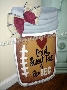 Southern Football SEC Mason Jar Door Hanger by OnTheBrightSideArt