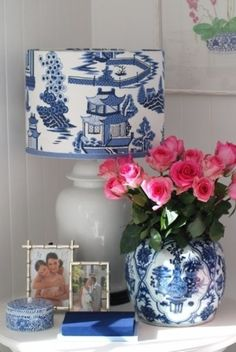 Nightstand Decor with White & Blue