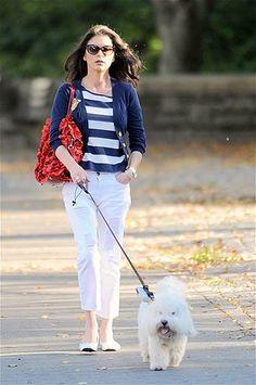 Catherine Zeta-Jones walks her dog on a lovely fall day New York's Central Par