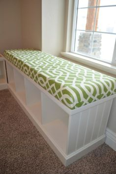 Step by Step- How to Upholster a Bench Seat. Home made bench, foam beds from Lowes $19. by nwillian