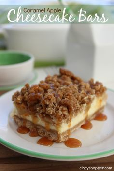Caramel Apple Cheesecake Bars Recipe. Great for a dessert. I love them with my morning coffee.