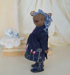 Teddy Bear style Artist viscose vintage OOAK  handmade collectible Bear toy by IntDolls on Etsy