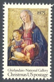 "1975_10_14 $.10 This traditional Christmas stamp was designed by Stevan Dohanos and features the painting ""Madonna and Child,"" by Ghirlandaio. Due to an impending postage rate change, the stamp was issued without a denomination- the date of a change from 10c to 13c was not known at the time of printing; the stamp ended up being issued prior to the rate change and it is thus a 10c stamp."