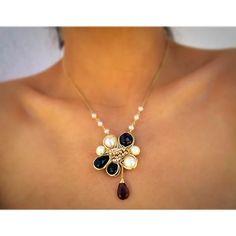 Handmade✋ #pgaccesorios #chapadeoro #collar #necklace #cadenita #handmadejewelry #hechoamano #joyasamano #joyeria #perlas #onix #granate #cuarzoahumado