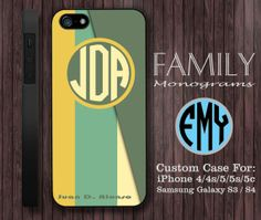 yellow and green monogram hard plastic case for by familymonogram, $15.99