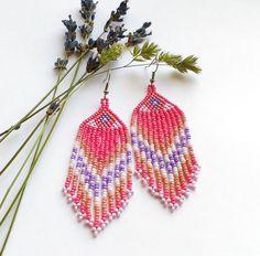 Pink Earrings  Beaded Earrings  Chic Earrings  Seed Bead by Galiga