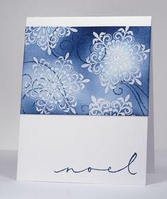 """Sponged snowflakes upper panel **** created by Heather Telford using Penny Black """"All Is Bright"""" set but could use any snowflake set."""