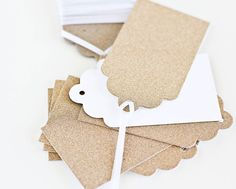 Gold Glitter Wedding Wish Tags - Gift Tags - Set of 8 Tags -  Guestbook Alternative, Blank Tag