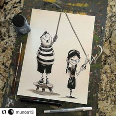 """""""Of course I'll cut the rope if you black out Pugsley """" Wednesday cryptically said as she crossed her fingers behind her back... . .  #addamsfamily #wednesdayaddams #pugsleyaddams #wednesday #pugsley #Draw #Drawing #Art #Fanart #Artist #Illustration #Design #sketch #doodle #tattoo #Arthelp #Anime #Manga #Otaku #Gamer #Nerdy #Nerd #Comic #Geek #Geeky . . Geek drawings gallery.  Use #AmongGeeks for a chance to be featured  Artist credit"""