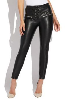 HUE Leatherette Leggings Faux Leather Size M Brown Olive NIP $48 Retail