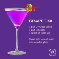 UV Vodka Recipe: Grapetini Umm, I have no idea if this is good but sounds interesting. Uv Vodka Recipes, Martini Recipes, Alcohol Recipes, Bar Drinks, Cocktail Drinks, Alcoholic Drinks, Beverages, Easy Cocktails, Punch