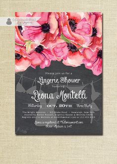 Chalkboard Floral Lingerie Shower Invitation with red & pink anemone blooms by digibuddhaPaperie
