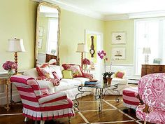slipcover striped chair--Hydrangea Hill Cottage