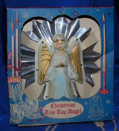 VTG XMAS ANGEL TREE TOPPER - FOIL & CELLULOID, TIMCO, W ORIGINAL BOX #CelluloidAngelAgainstPleatedFoil